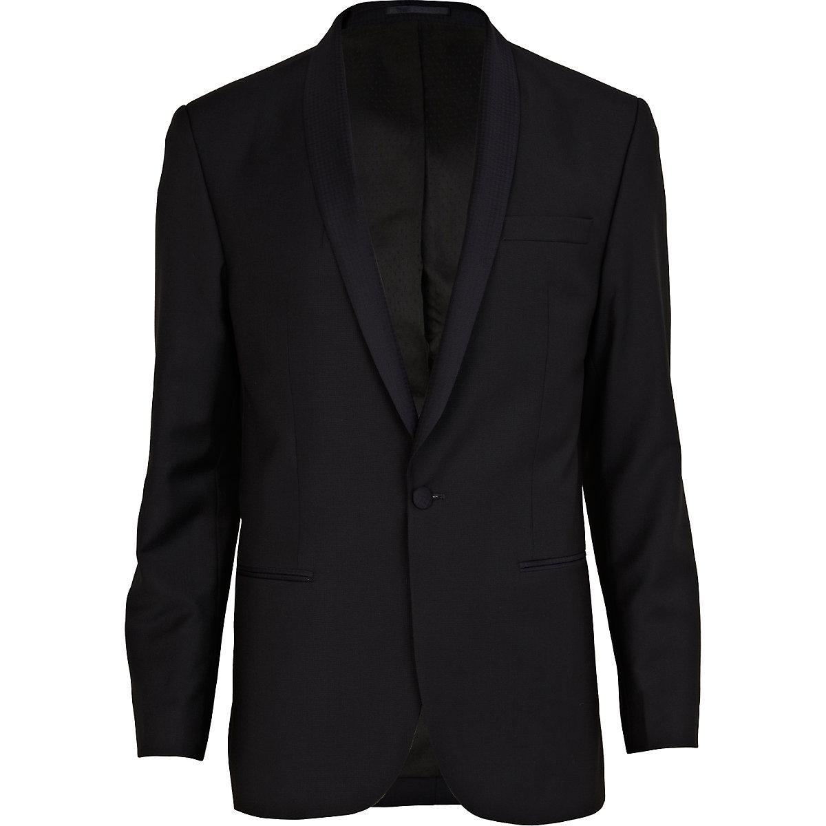 Navy blue classic fit suit jacket