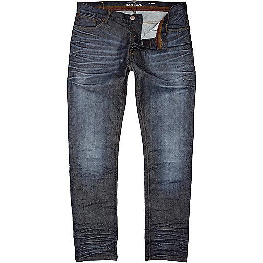 Dark wash coated Flynn skinny jeans