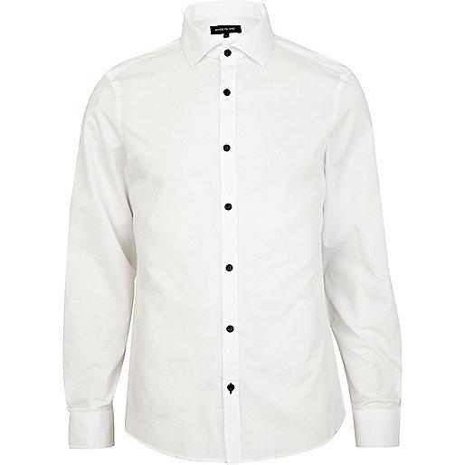 White contrast button poplin shirt