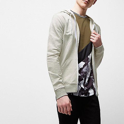 Cream marl zip front hoodie
