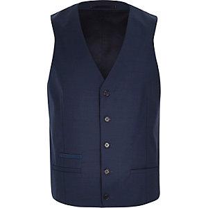Blue wool-blend smart waistcoat