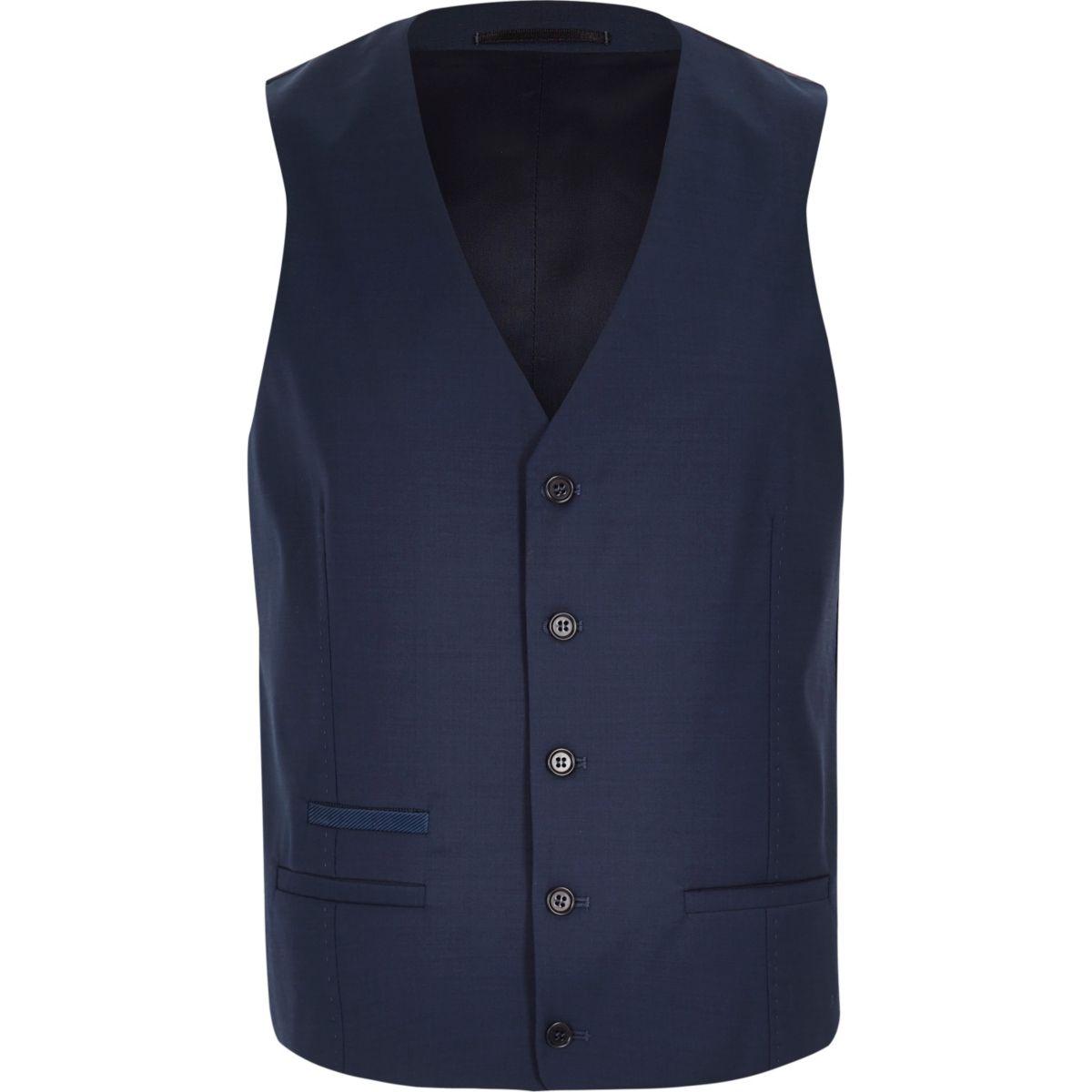 Gilet habillé en laine mélangée bleue