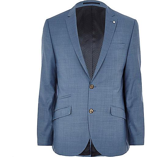 Blue cross-hatch wool-blend slim suit jacket