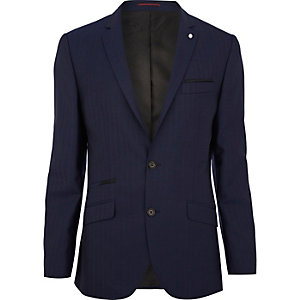 Navy herringbone slim suit jacket