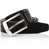 Black silver tone buckle belt