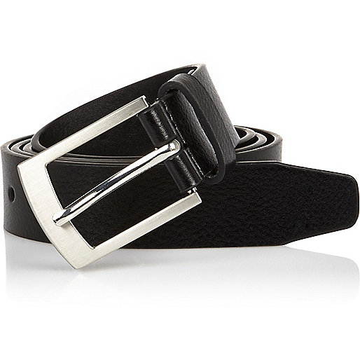 Black leather silver tone buckle belt