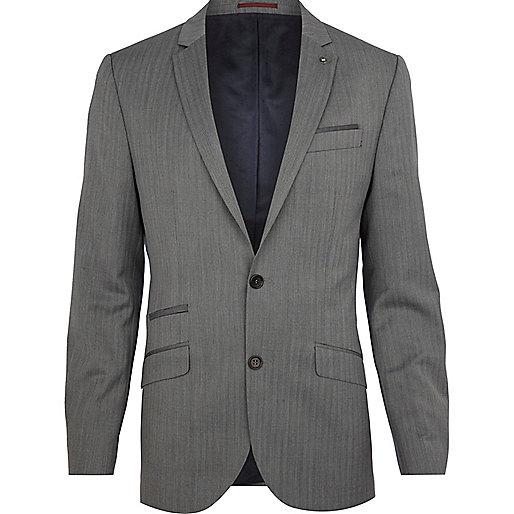 Grey herringbone slim suit jacket