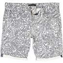Grey line print canvas shorts