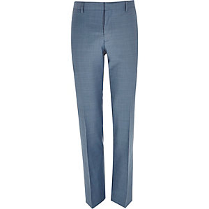 Blue cross-hatch wool-blend slim suit trouser