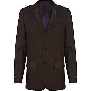 Veste de costume cintrée marron foncé à carreaux