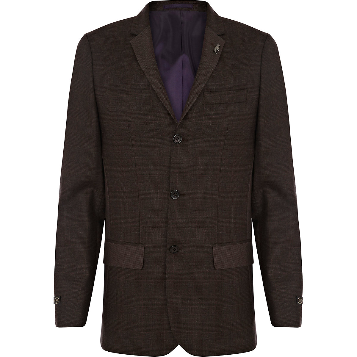 Dark brown check skinny suit jacket