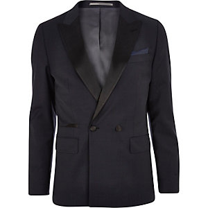 Navy double breasted contrast collar blazer