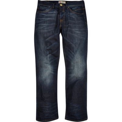 Donkerblauwe wash Clint bootcut jeans