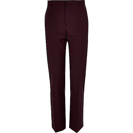 Plum slim suit trousers