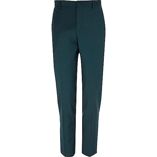 Dark green wool-blend skinny suit trousers