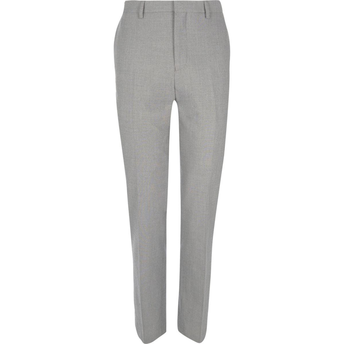 Grey slim fit suit trousers