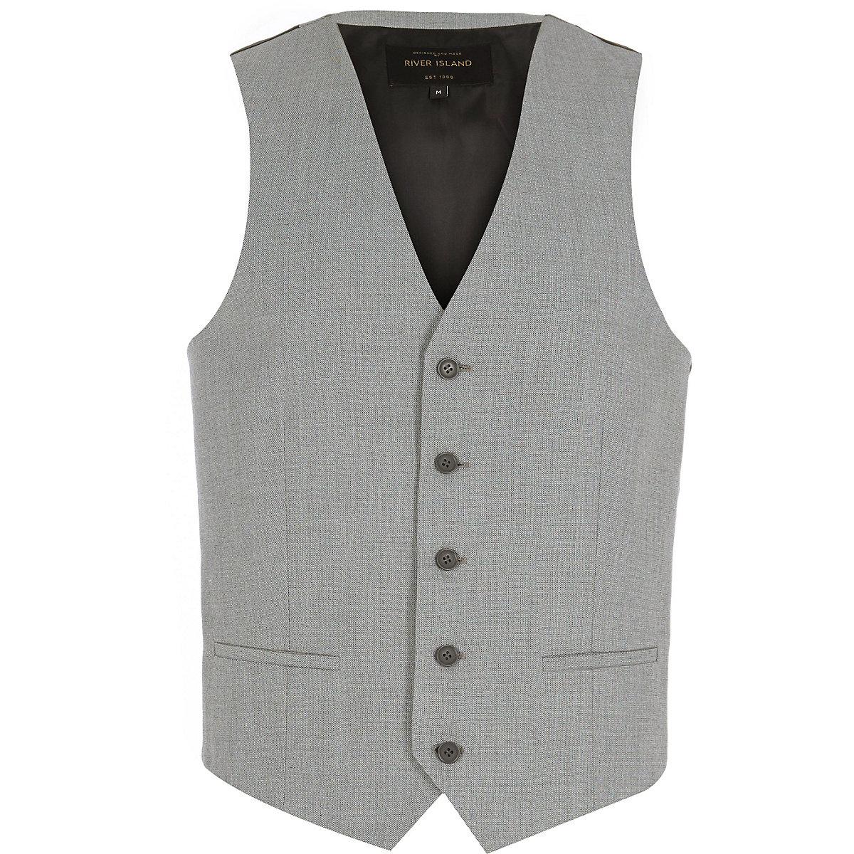Light grey single breasted vest