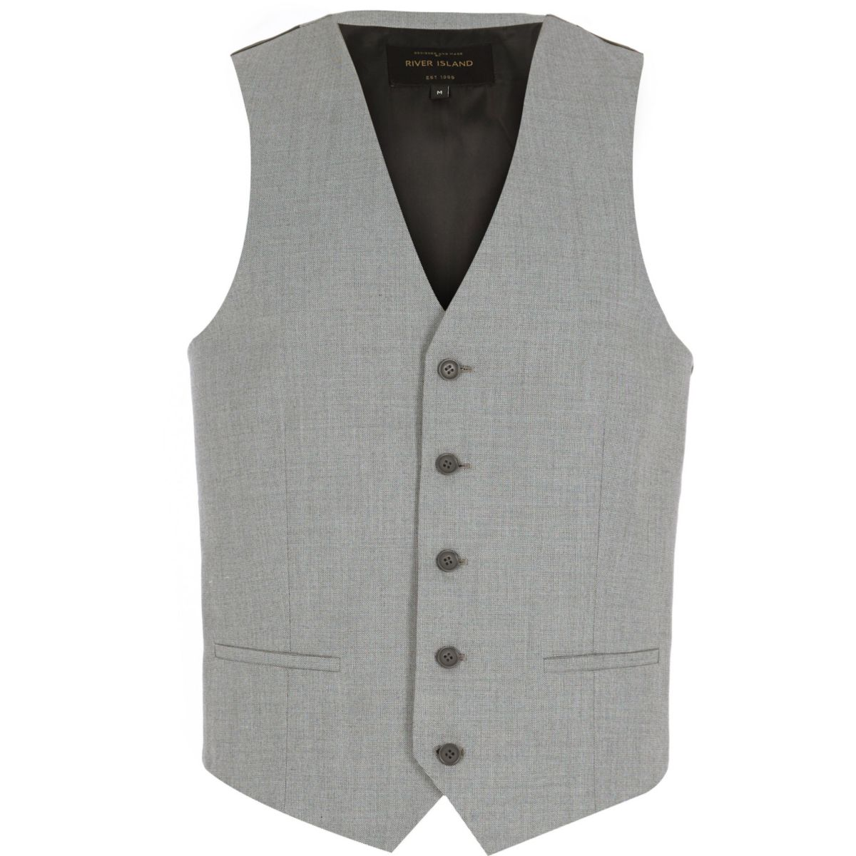 Light grey single breasted waistcoat