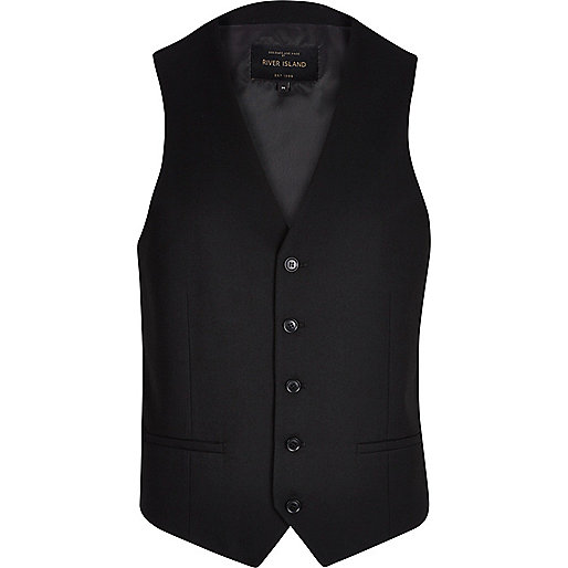 Black single breasted vest