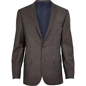 Veste de costume à rayures marron coupe cintrée