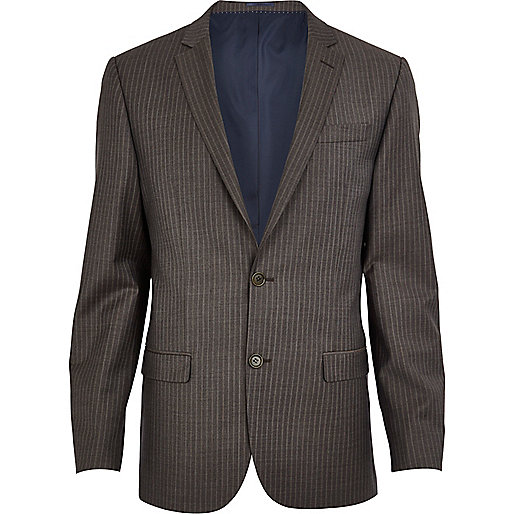 Brown stripe slim suit jacket