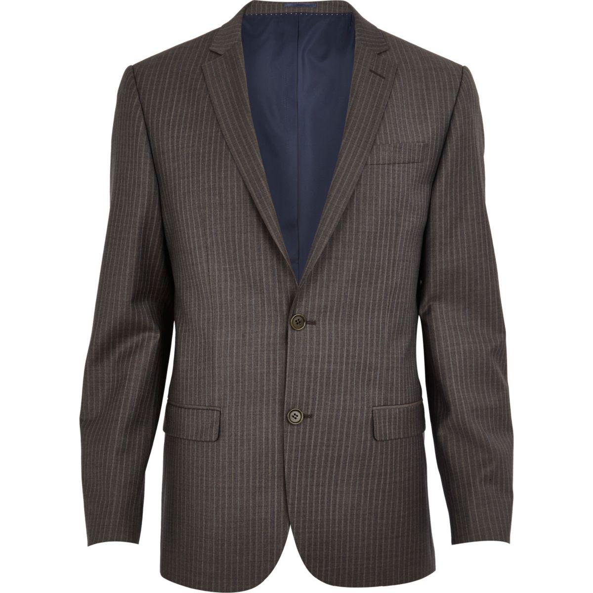 Brown stripe slim suit jacket