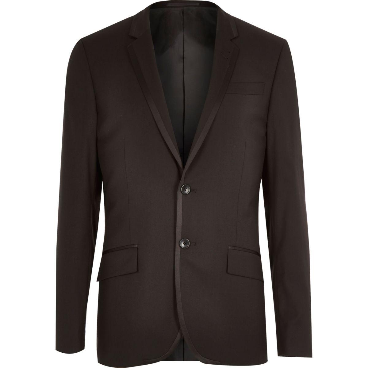 Black contrast trim tux jacket