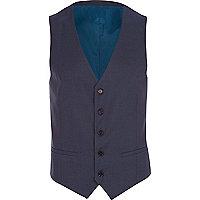 Dark blue single breasted waistcoat