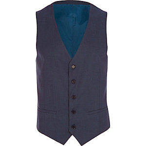 Dark blue single breasted vest