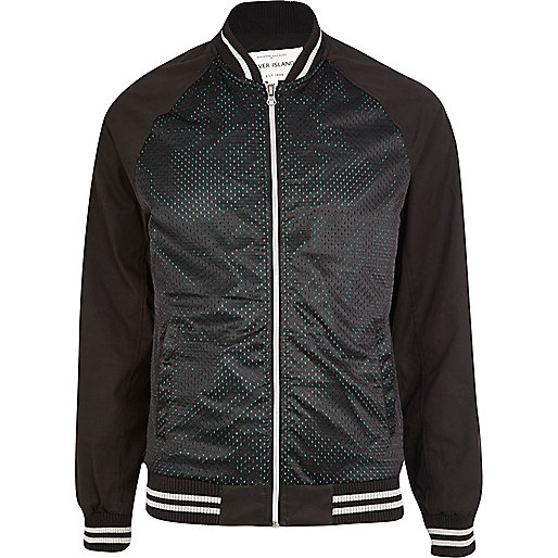 Black mesh bomber jacket