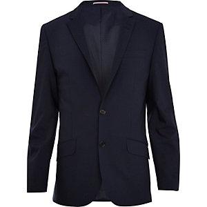 Veste de costume slim en laine mélangée bleu marine