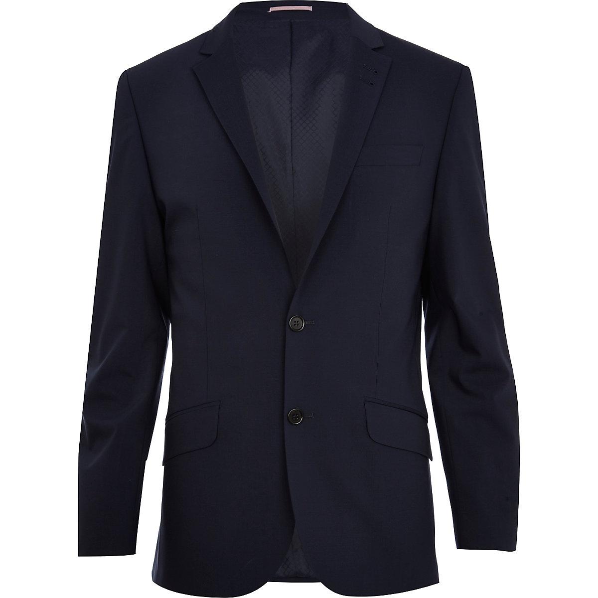 Navy blue wool-blend slim suit jacket