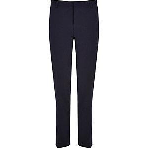 Navy blue wool-blend slim suit pants