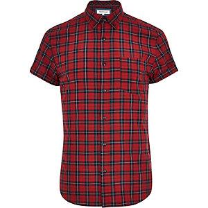 Red tartan short sleeve shirt