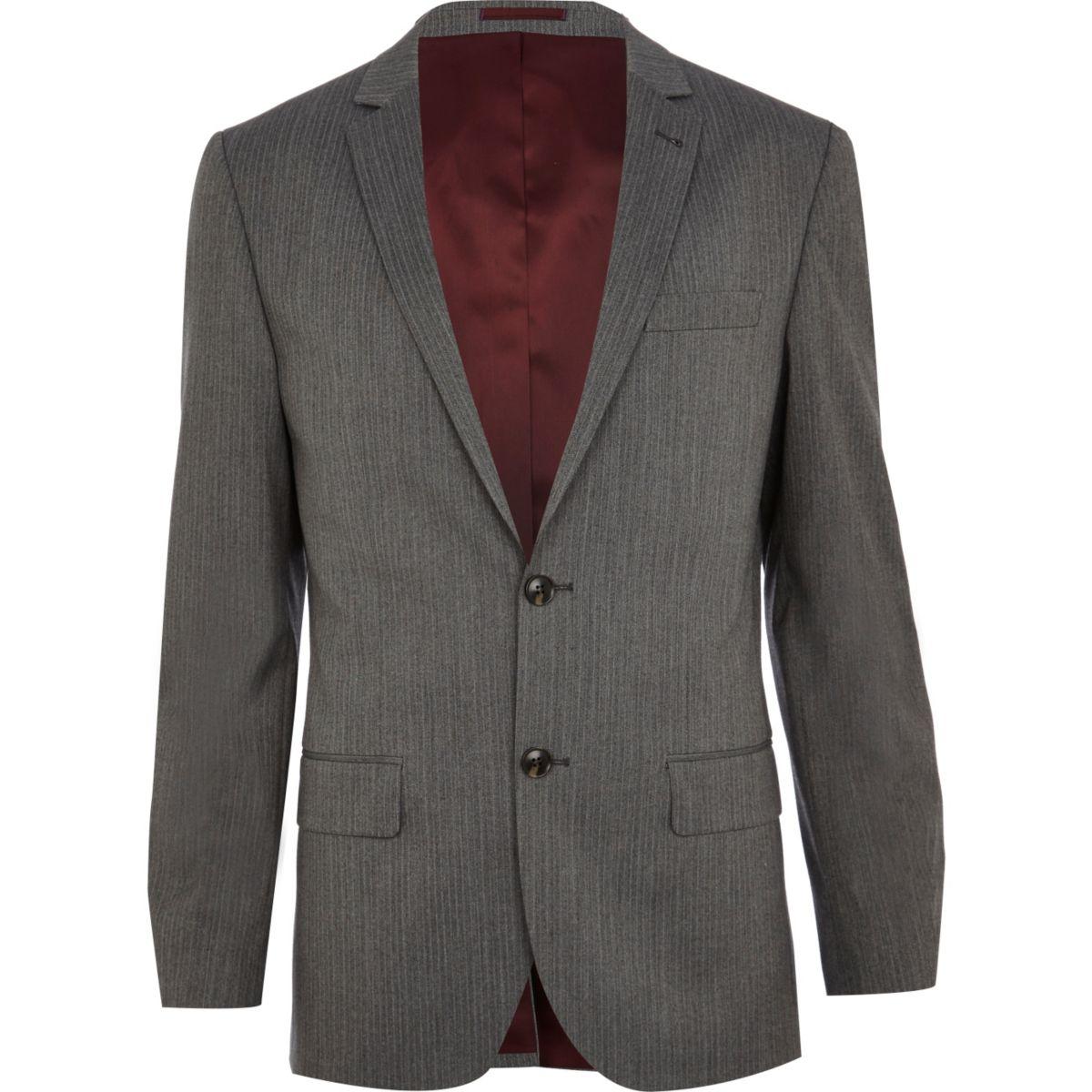 Grey stripe slim fit suit jacket