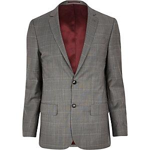 Grey window check skinny suit jacket