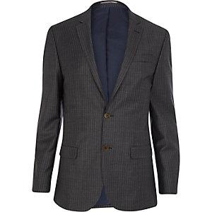 Grey pinstripe slim suit jacket