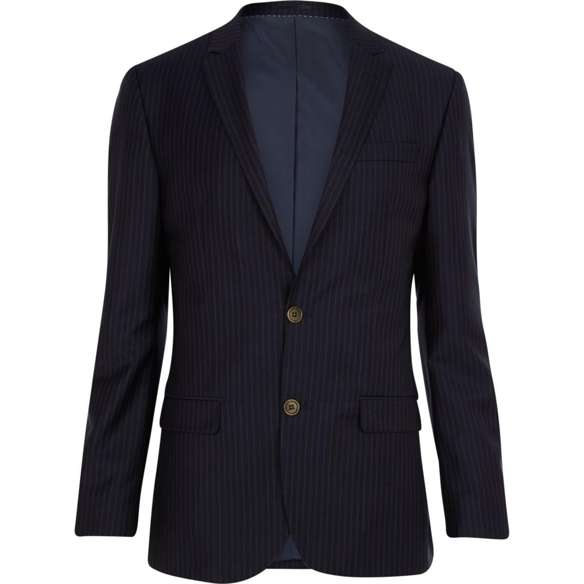 Navy pinstripe slim fit suit jacket