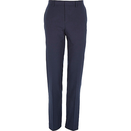Dark blue slim suit trousers