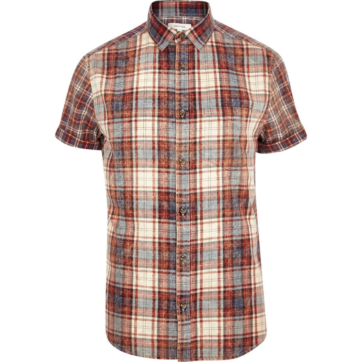 Red check short sleeve shirt