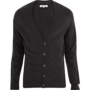 Dark grey V-neck cardigan