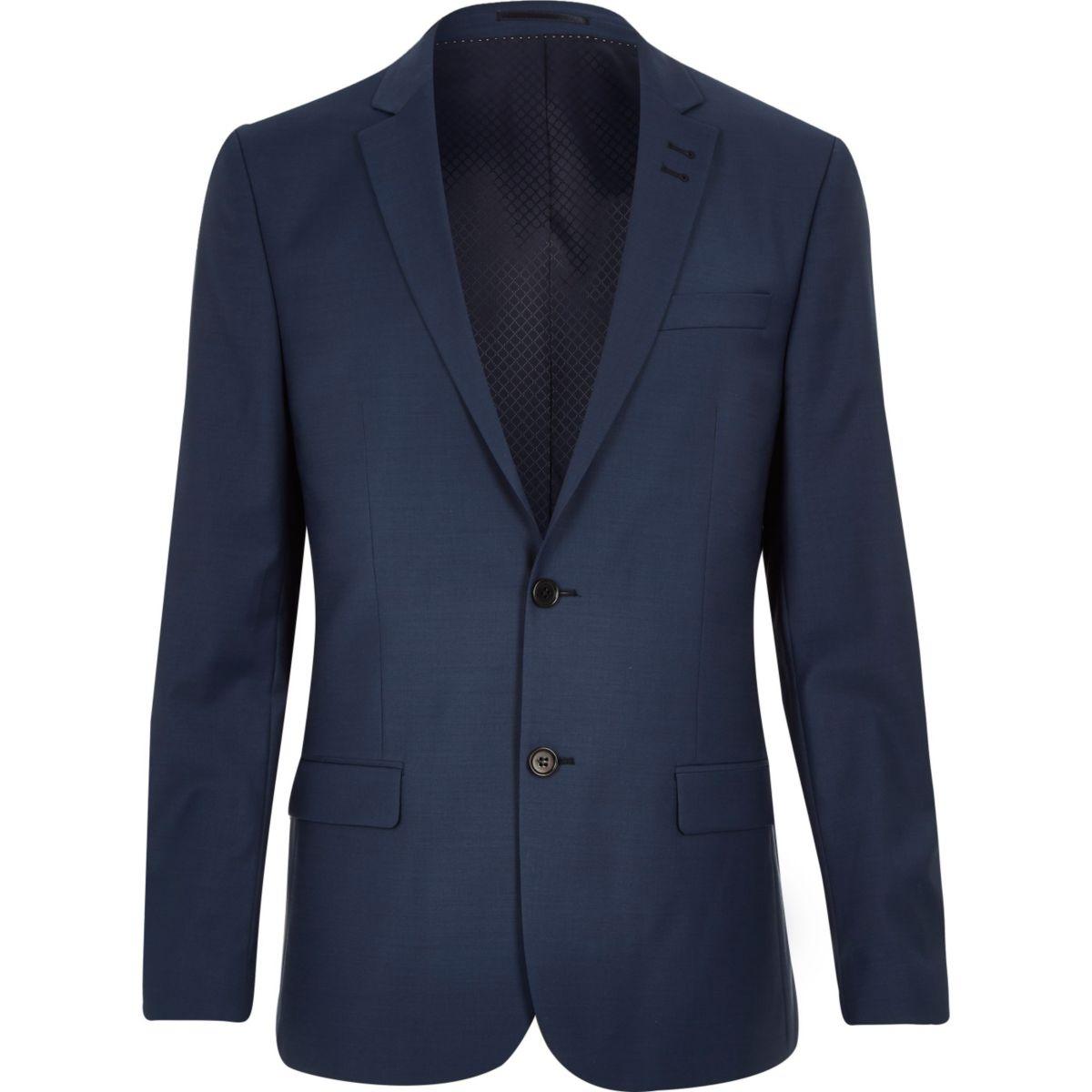Blaue, schmale Anzugsjacke aus einer Wollmischung