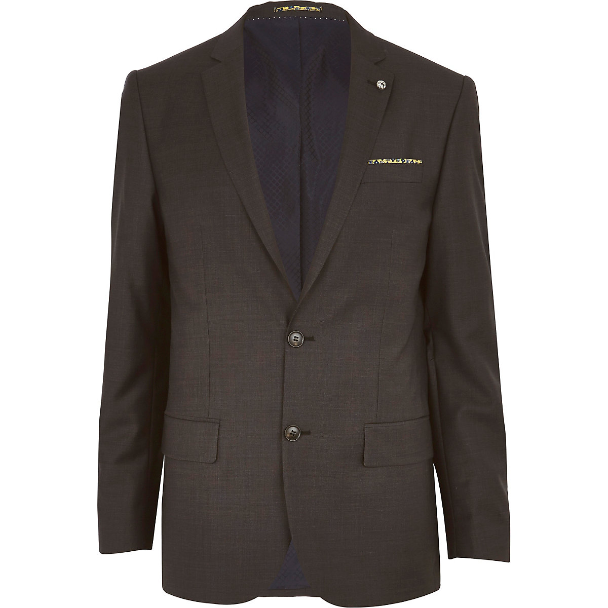 Dark grey slim suit jacket