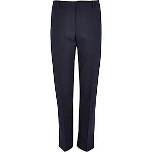 Navy blue slim suit trousers
