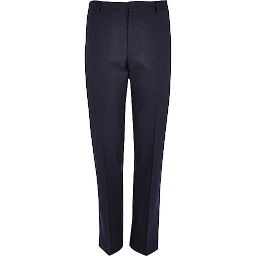Navy blue slim suit pants