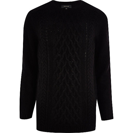 Black fluffy cable knit sweater