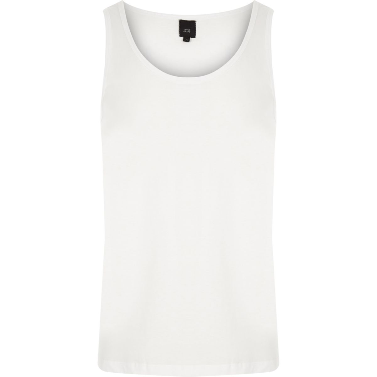 White scoop neck tank top