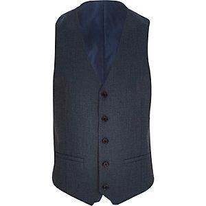Navy blue single breasted waistcoat