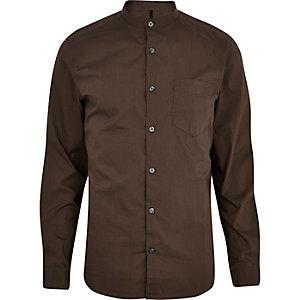 Langärmliges Grandad-Hemd in dunklem Khaki