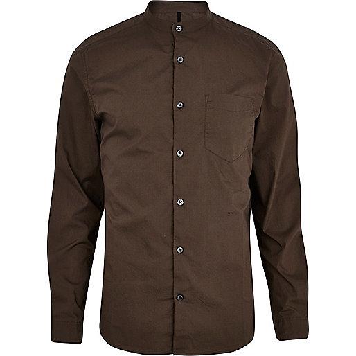 Dark khaki long sleeve grandad shirt